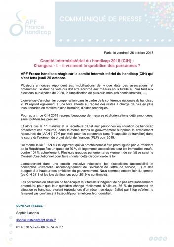 Comite Interministeriel Du Handicap 2018 Changera T Il Vraiment Le