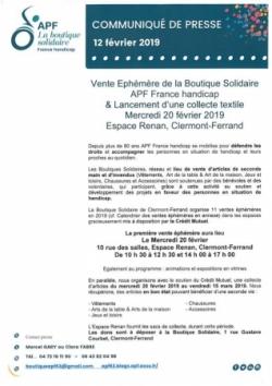 Vente éphémère à l'Espace Renan 20/02/2019