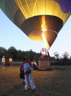 Montgolfière à l'atterrissage