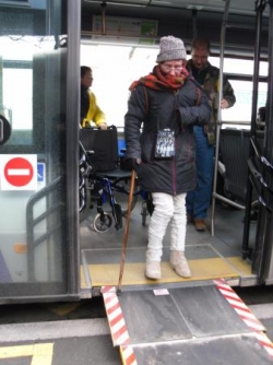 Descente du bus
