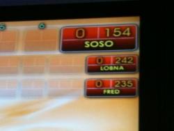 Score final:Soso-Lobna-Fred