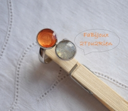 Bague double vernis orange/micro-billes