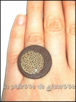 8. Bague mosaique marron
