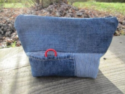 trousse jean / rayures bleues