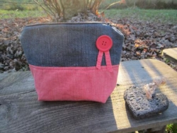 Trousse jean/ tissu rouge fines rayures