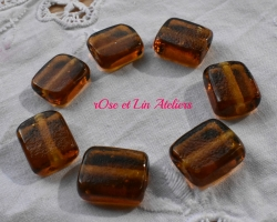 lot de 7 perles marrons en verre