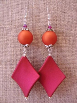 Boucles d'oreilles satin rose et orange