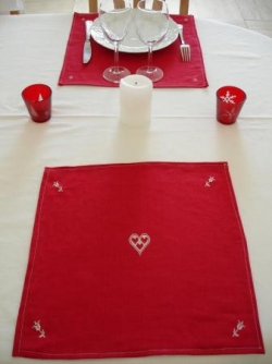Serviette ou set coeur