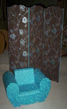 paravent chocolat et turquoise verso carton sur ton. Black Bedroom Furniture Sets. Home Design Ideas