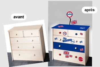 d corer un meuble en utilisant le sticker idee deco sticker. Black Bedroom Furniture Sets. Home Design Ideas