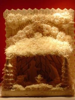 Crèche taillée dans du bois de saule