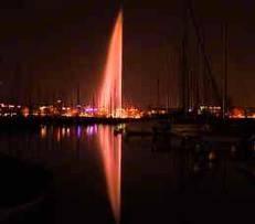 Jet d'eau de Geneve en rouge pour les victimes du