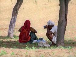 Pause au champ indien