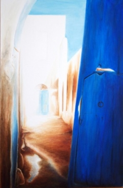 Porte bleue (80 x 40 cm)