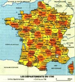 VT1 : Les départements français en 1790