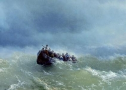 Barque dans la tempête