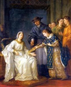 Saint Louis, roi de France, remettant la régence à