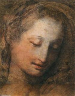 Visage d'une femme, les yeux baissés