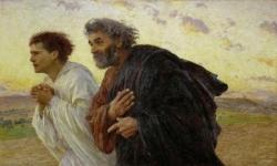 Les disciples Pierre et Jean courant au sépulcre l