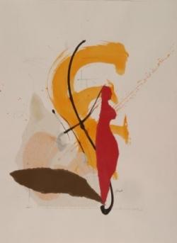 Maxime 4, encre et collage sur papier, 2006