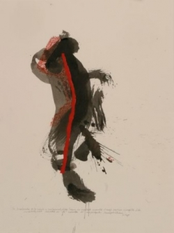 Pensée 3, encre et collage sur papier, 2005