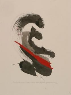 Pensée 2, encre et collage sur papier, 2005