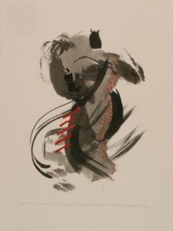 Pensée 1, encre et collage sur papier, 2005
