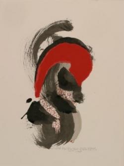 Pensée 9, encre et collage sur papier, 2005