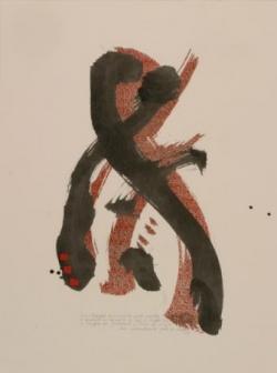 Pensée 4, encre et collage sur papier, 2005