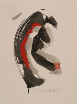 Pensée 5, encre et collage sur papier, 2005