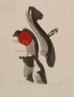 Pensée 6, encre et collage sur papier, 2005