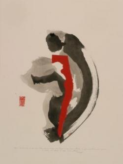 Pensée 7, encre et collage sur papier, 2005