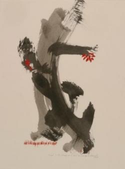 Pensée 10, encre et collage sur papier, 2005