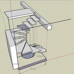 Vue 3D de l'escalier