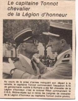 Le Capitaine TONNOT fait Chevalier de La L.H