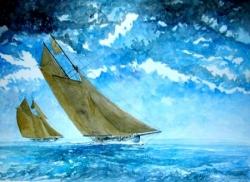 Aquarelles et dessins voiliers, canots...