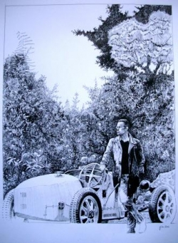 Bugatti 35 dans le jardin