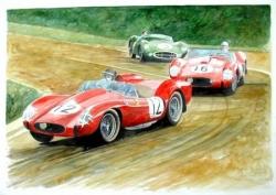 Ferrari et Aston Le Mans 1958