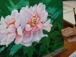 Etude de fleurs à l'acrylique.