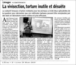 Article de l'Echo du centre