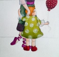 """""""Petits souliers et ballon rouges"""" mise en couleur"""