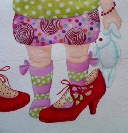 """""""Les chaussures de maman"""" fond blanc"""