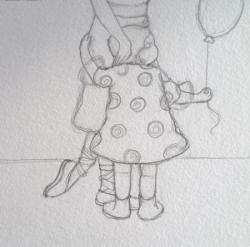 """""""Petits souliers et ballon rouges"""" croquis"""