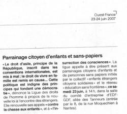 Parrainage juin 2007 Ouest France 23 juin