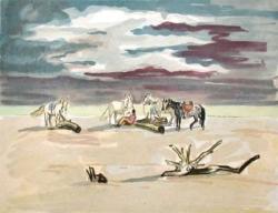 Le repos des cavaliers sur la plage