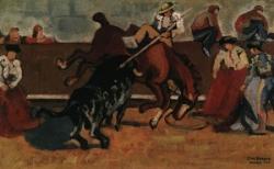 Le taureau renversant un picador
