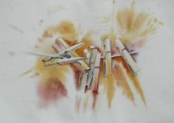 Pinces à linge - Aquarelle - 36x26