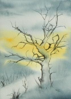 Arbre en hiver - Aquarelle - 26x36