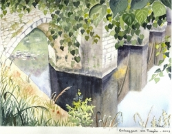 Entraygues-sur-Truyère - Aquarelle - 23x29