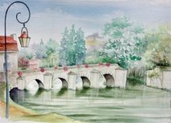 Vieux pont de Limay - Aquarelle -